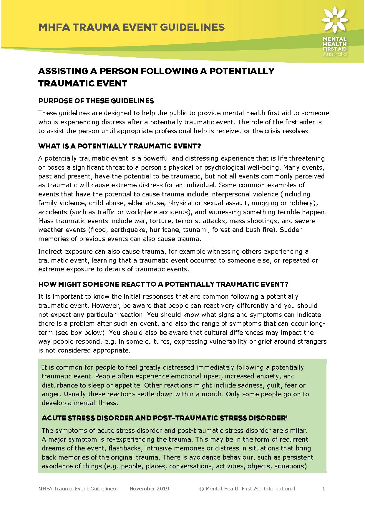 Trauma Guidelines